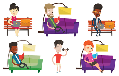 Vector set of people during leisure activity. Illustration