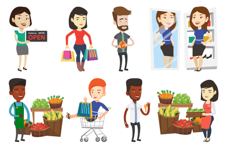 Vector set of shopping people characters. Illustration