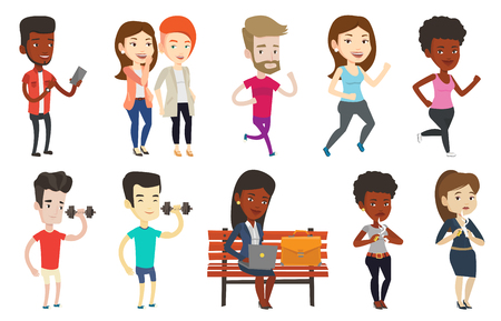 mobilephone: Vector set of sport characters.
