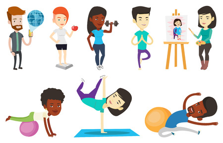 fitball: Vector set of sport characters.