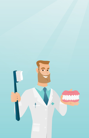 orthodontist: Dentist with a dental jaw model and a toothbrush. Illustration