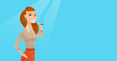 Woman brushing teeth vector illustration.