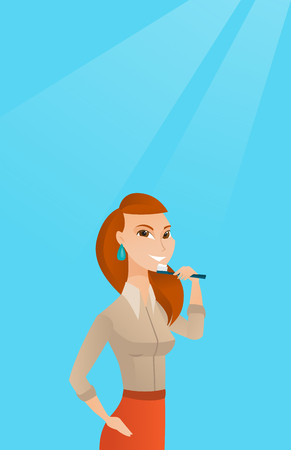 cleanliness: Woman brushing teeth vector illustration.