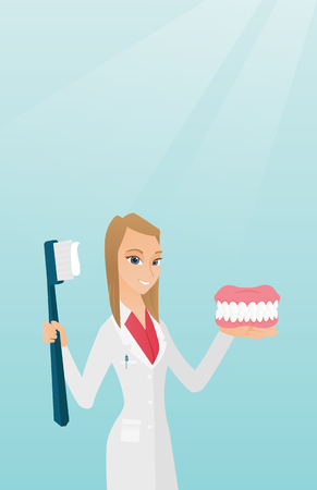 Dentist with a dental jaw model and a toothbrush. Illustration