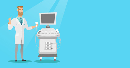 Opérateur caucasien d'une machine à ultrasons qui analyse le foie du patient. Jeune médecin hipster travaillant sur un équipement ultrason moderne. Vector illustration de conception plate. Disposition horizontale.