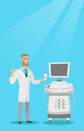 Opérateur caucasien d'une machine d'échographie analysant le foie du patient. Jeune médecin hipster travaillant sur un équipement ultrasonore moderne. Illustration vectorielle de design plat. Disposition verticale. Vecteurs