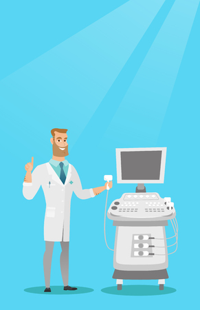 Caucasian operator of an ultrasound scanning machine analyzing the liver of patient. Young hipster doctor working on a modern ultrasound equipment. Vector flat design illustration. Vertical layout.