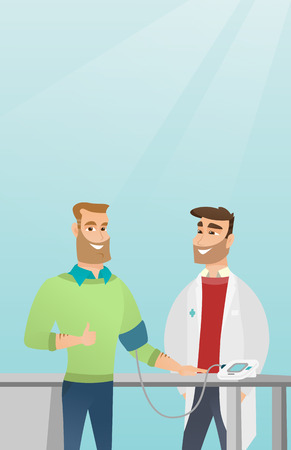 Man checking blood pressure with a blood pressure meter. Man giving thumb up while medical examination. Doctor measuring blood pressure of a man. Vector flat design illustration. Vertical layout. Illustration
