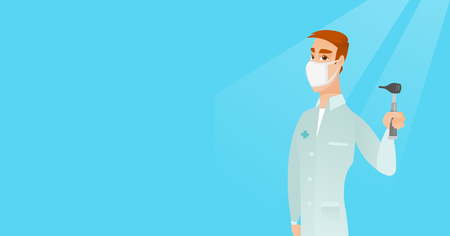 otolaryngologist: Full length of caucasian ear nose throat doctor. Young doctor in a medical gown and a mask holding tools used for examination of ear, nose, throat. Vector flat design illustration. Horizontal layout.