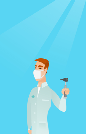 otolaryngologist: Full length of caucasian ear nose throat doctor. Young doctor in a medical gown and a mask holding tools used for examination of ear, nose, throat. Vector flat design illustration. Vertical layout. Illustration