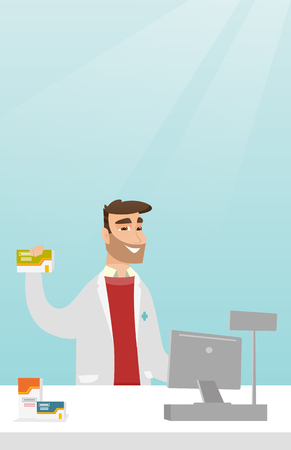 Young pharmacist in a medical gown standing behind the counter in the pharmacy. Pharmacist showing some medicine. Pharmacist holding a box of pills. Vector flat design illustration. Vertical layout.