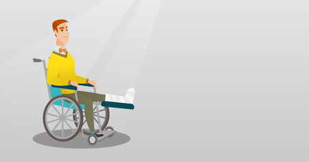 Young sad caucasian man with leg in plaster. Injured upset man sitting in a wheelchair with broken leg. Man with fractured leg suffering from pain. Vector flat design illustration. Horizontal layout. Illusztráció
