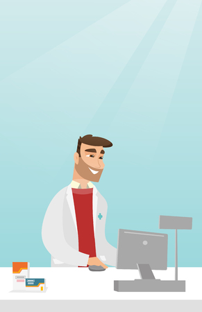 Young pharmacist in a medical gown standing behind the counter in a pharmacy. Pharmacist working in the drugstore. Pharmacist working on a computer. Vector flat design illustration. Vertical layout. Illustration