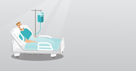 hospital ward: Patient lying in hospital bed with oxygen mask.