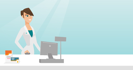 Young pharmacist in a medical gown standing behind the counter in a pharmacy. Pharmacist working in a drugstore. Pharmacist working on a computer. Vector flat design illustration. Horizontal layout.