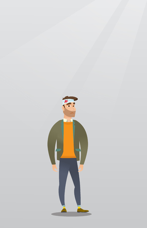 Man with an injured head vector illustration.