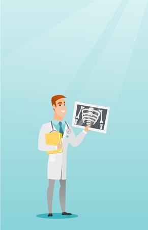 Doctor examining a radiograph vector illustration.