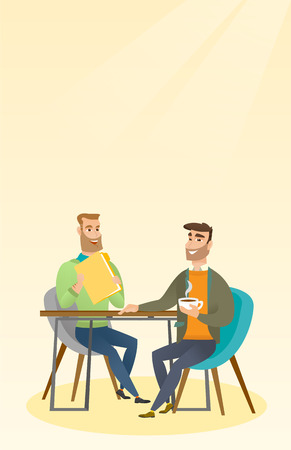 vacancy: Two businessmen during business meeting. Illustration