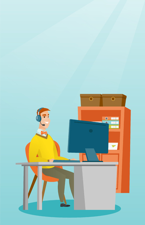 video call: Businessman with headset working at office.