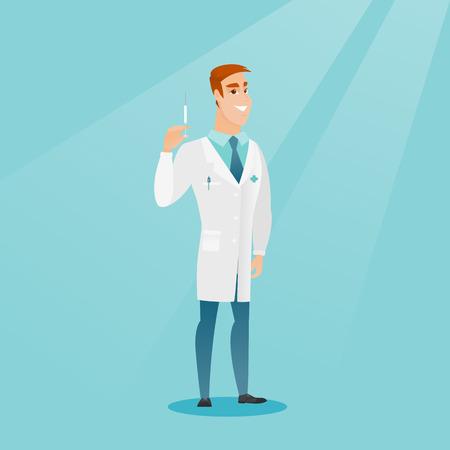 Doctor holding syringe vector illustration.