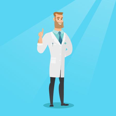 Doctor showing finger up vector illustration. 矢量图像