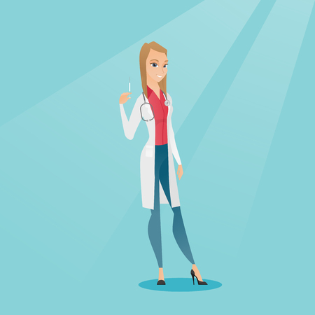 Caucasian female doctor holding a medical injection syringe. Young female doctor standing with a syringe. Doctor holding a syringe ready for injection. Vector flat design illustration. Square layout.