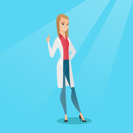 Female happy doctor in medical gown showing finger up. Young caucasian doctor with finger up. Smiling woman in doctor uniform pointing finger up. Vector flat design illustration. Square layout.