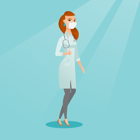 Caucasian female doctor in mask giving thumbs up. Female doctor in medical gown showing thumbs up gesture. Female doctor with gesture thumb up. Vector flat design illustration. Square layout. Illustration