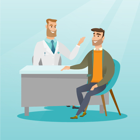 Caucasian doctor consulting a patient in the office. Doctor talking to a smiling patient. Doctor communicating with a patient about his state of health. Vector flat design illustration. Square layout.