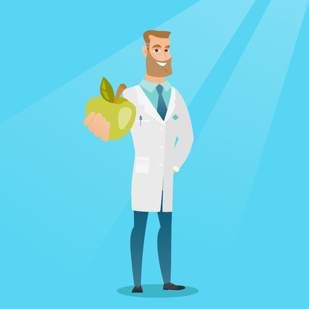 Young caucasian nutritionist prescribing diet and healthy eating. Smiling confident nutritionist holding an apple. Nutritionist offering fresh apple. Vector flat design illustration. Square layout Illustration