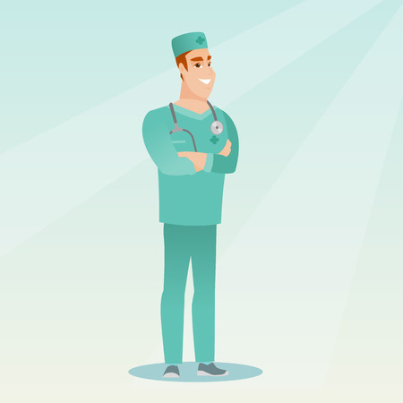 crossed arms: Cheerful surgeon standing with arms crossed. Young caucasian confident surgeon in medical uniform. Happy smiling surgeon with a stethoscope on his neck. Vector flat design illustration. Square layout. Illustration