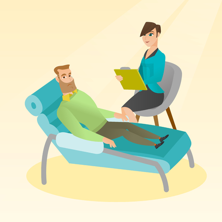 Psychologist having session with patient. Illustration