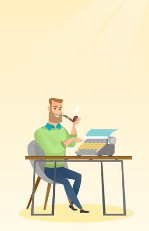 Journalist working on retro typewriter. Illustration