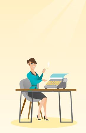 smoking woman: Journalist working on retro typewriter. Illustration