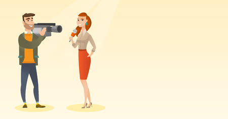 TV reporter and operator vector illustration. Фото со стока - 80045696
