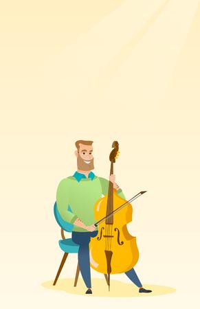 Man die de cello vectorillustratie speelt.