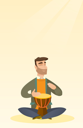 Man playing the ethnic drum vector illustration. Çizim