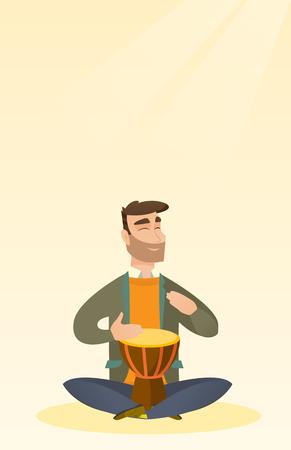 Man playing the ethnic drum vector illustration. Illustration