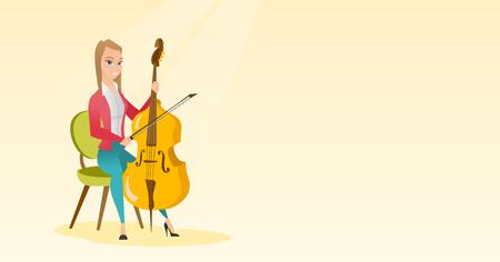 Vrouw die de cello vectorillustratie speelt. Stock Illustratie