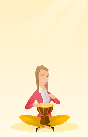 media player: Woman playing the ethnic drum vector illustration.