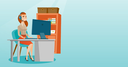 video call: Business woman with headset working at office. Illustration