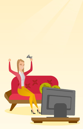 pleased: Woman playing a video game vector illustration.