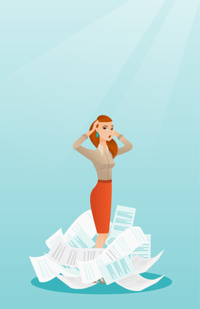 Stressed business woman having lots of work to do.