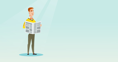 Man reading a newspaper vector illustration. Illustration