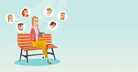 Woman surfing in the social network.