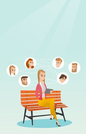 using tablet: Woman sitting on a bench and using a tablet computer with network avatar icons above. Woman surfing in the social network. Social network concept. Vector flat design illustration. Vertical layout.
