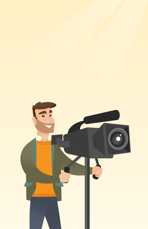 Hipster cameraman with beard looking through a movie camera on a tripod. Caucasian man with a professional video camera. Cameraman taking a video. Vector flat design illustration. Vertical layout. Illustration
