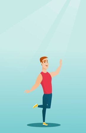 Cheerful young man dancing with passion. Full length portrait of a happy caucasian man dancing. Smiling man during dance workout. Vector flat design illustration. Vertical layout.
