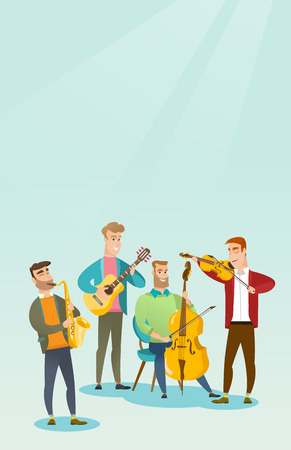 Band of musicians playing musical instruments. Group of young musicians playing musical instruments. Band of musicians performing with instruments. Vector flat design illustration. Vertical layout.