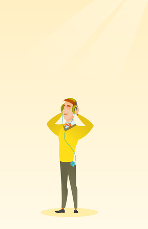 mp3: Man listening to music from his smartphone. Young caucasian man in headphones listening to music. Relaxed man with closed eyes enjoying music. Vector flat design illustration. Vertical layout. Illustration